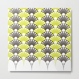 polka dotted fan pattern in brown and lime Metal Print