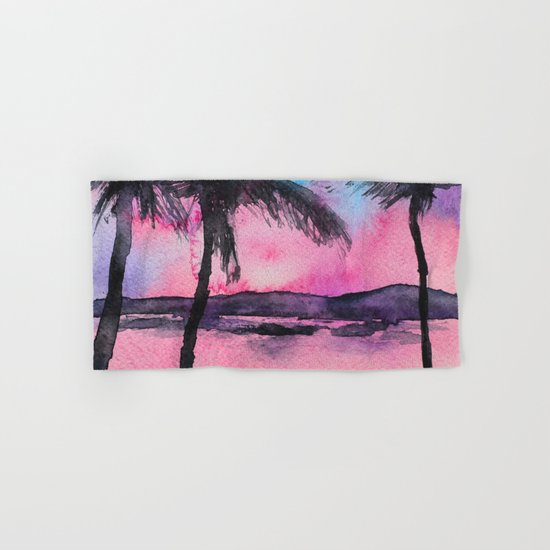 Tropical sunset || watercolor Hand & Bath Towel