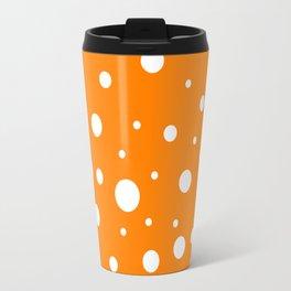 Mixed Polka Dots - White on Orange Travel Mug