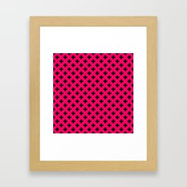 Black Crosses on Hot Neon Pink Framed Art Print