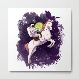 Unicorn Astronaut Metal Print