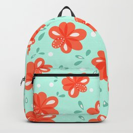 Cheerful Red Flowers Pattern Backpack