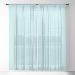 Pastel Turquoise Blue Solid Color Block Sheer Curtain