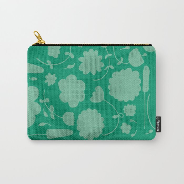 Floral green Carry-All Pouch