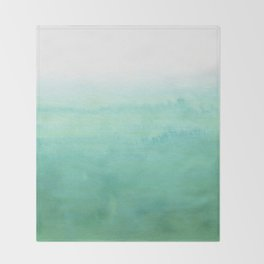 Modern hand painted green teal aqua watercolor ombre motif Throw Blanket