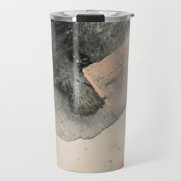 Peace and Quiet [2]: a pretty, minimal abstract piece in gray and peach by Alyssa Hamilton Art Travel Mug