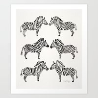 Zebras – Black & White Palette Art Print