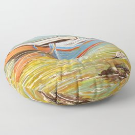 Blue And Orange Boats At The Harbor Floor Pillow