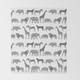 Safari animals minimal grey and white zebra giraffe cheetah hippo rhino nursery Throw Blanket