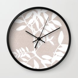 Farmhouse botanical lilac and white floral handmade print 7 Wall Clock