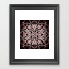 Red & Black Etched Delicate Flowers Framed Art Print