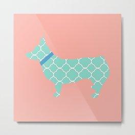 Corgi Dog with Quatrefoil in Coral/Mint Metal Print