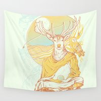 antlers Wall Tapestries featuring Antlers by Andrew Haines Art