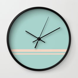 Care Free \\ Retro Teal Stripe Wall Clock