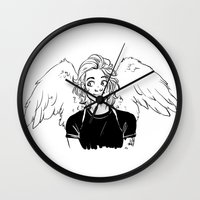 kendrawcandraw Wall Clocks featuring Wings by kendrawcandraw