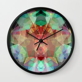 Modern lime green red abstract kaleidoscope pattern Wall Clock