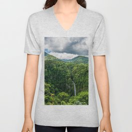 Costa Rica jungle waterfall forest mountains Unisex V-Neck