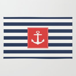 Anchor on blue and white stripes Rug