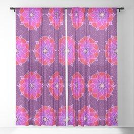 Pink Purple Floral Sheer Curtain