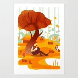 Summer Reading Girl Under Tree Art Print