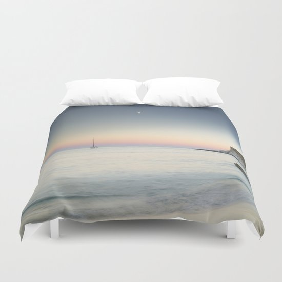 """SuperMoon in Plomo Beach"" Duvet Cover"