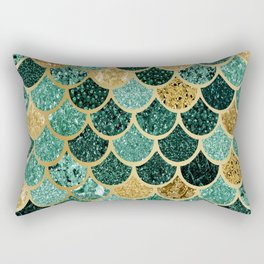 Mermaid Fish Scales Emerald Green, Gold Rectangular Pillow