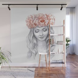 Girl in a pink wreath Wall Mural