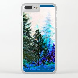 TEAL COLOR  MOUNTAIN  PINE FOREST LANDSCAPE Clear iPhone Case