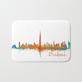 Dubai, emirates, City Cityscape Skyline watercolor art v2 Bath Mat