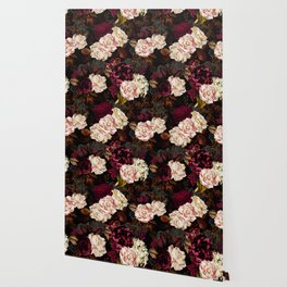 Vintage & Shabby Chic - Midnight Rose and Peony Garden Wallpaper