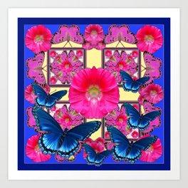 CERISE PINK & BLUE BUTTERFLIES FLORAL ART Art Print