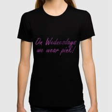 On Wednesdays We Wear Pink Black SMALL Womens Fitted Tee