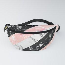 Modern black white pastel pink marble color block stripes Fanny Pack