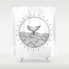 Whale in Waves Shower Curtain