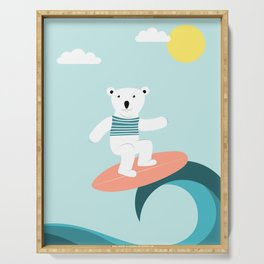Polar bear surfing. Serving Tray
