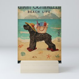 Beach Life Sandy Toes Giant Schnauzer dog gift Mini Art Print