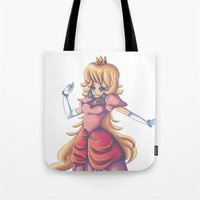 princess peach Tote Bags featuring Princess Peach by Christine Tribou