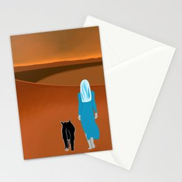 Sky Woman Goes for A Walk at Sunset on Mars With Sky Cat Stationery Cards