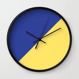 Modern royal blue sunshine yellow trendy color block Wall Clock