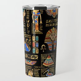 Egyptian hieroglyphs and deities on black Travel Mug