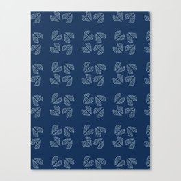 Traditional Indigo Blue Japanese Needlework Canvas Print