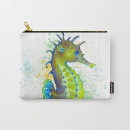 Seahorse Lime Green watercolor Splash Carry-All Pouch