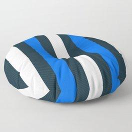 Modern Decorative Pattern Stripes Blue White Vertical Floor Pillow