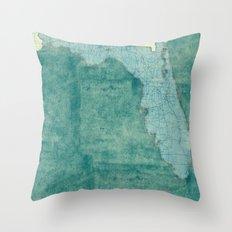Florida State Map Blue Vintage Throw Pillow
