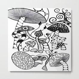 Wonderland Black and White Metal Print