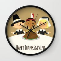 thanksgiving Wall Clocks featuring Happy Thanksgiving by Sara Showalter