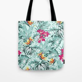 Bird of Paradise Greenery Aloha Hawaiian Prints Tropical Leaves Floral Pattern Tote Bag