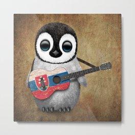 Baby Penguin Playing Slovakian Flag Guitar Metal Print