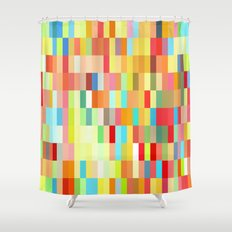 colorful rectangle grid Shower Curtain