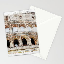 Aquarelle sketch art. View to the Colosseum from the street Stationery Cards